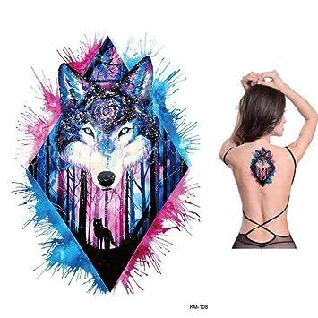 lecoolz - Tatuaje temporal, diseño de lobo, color morado y azul ...