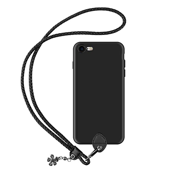 premium selection f717d 7c22e pzoz Case Compatible iPhone 7/8 Case, Silicone Lanyard Case Cover Holder  Long Hanging Neck Wrist Strap Outdoors Travel Necklace Compatible iPhone ...