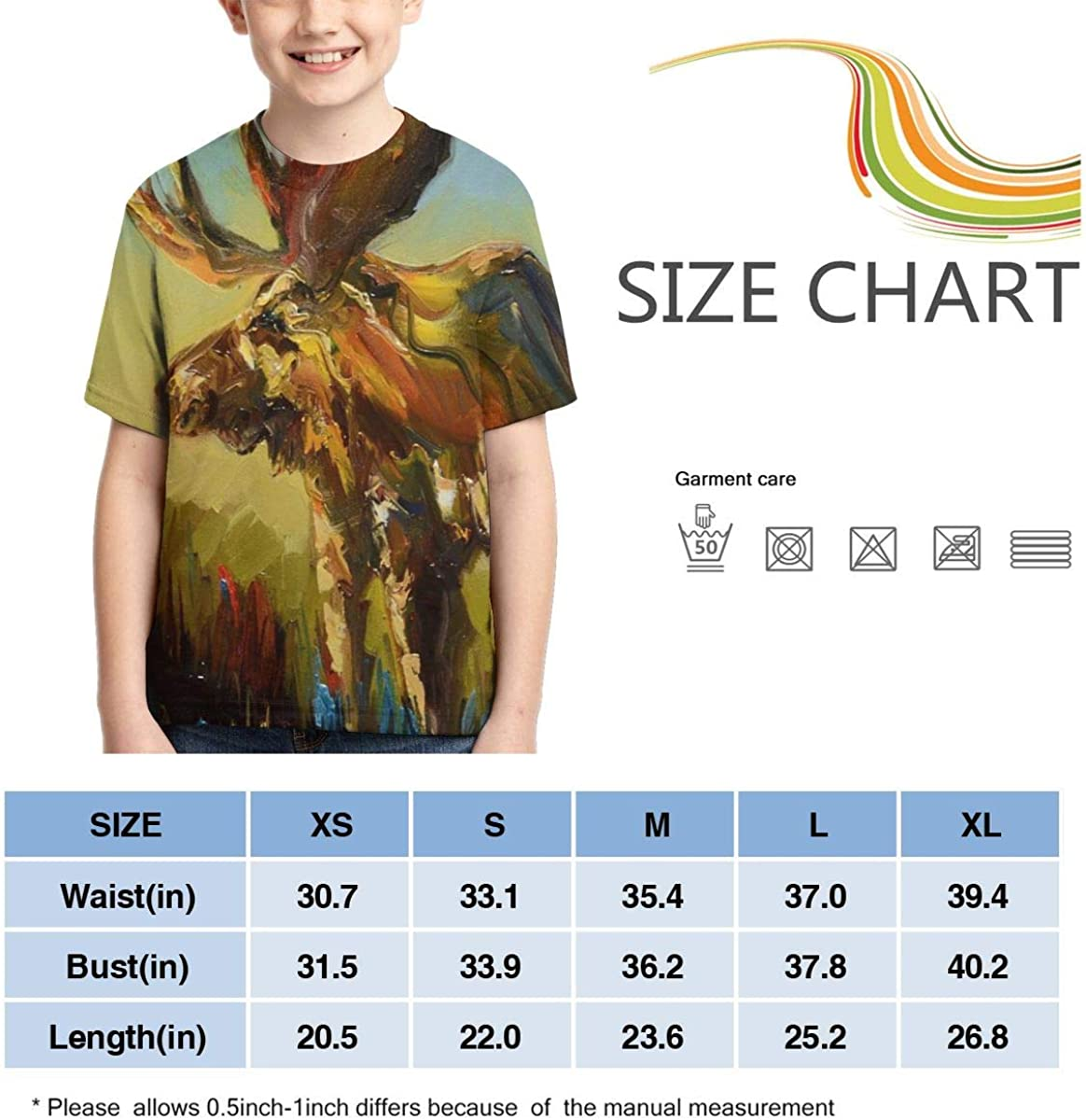 AMODECO Animal Wildlife Moose 3D Printed Tee T-Shirt for Youth Teenager Boys Girls