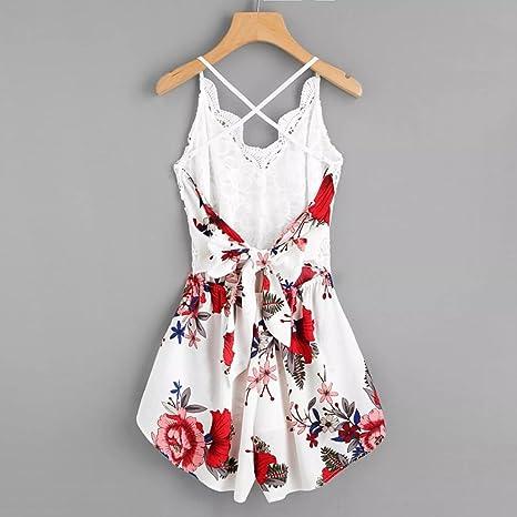 5792a73b6ec Chic Femmes Crochet Lace Panel Combinaison Barboteuse