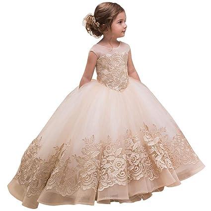 Suave Vestido de niña de flores de los niños femeninos Espectáculo Pasarela Cumpleaños Sin mangas Encaje