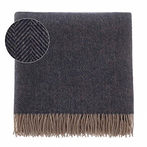 URBANARA 50% Alpaca Wool 50% Merino Wool Throw Corcovado 51x67 Dark Blue/Light Brown with Fringe - Blanket with Decorative Herringbone Weave Design - Perfect for Your Couch, Sofa, Bed, Chair