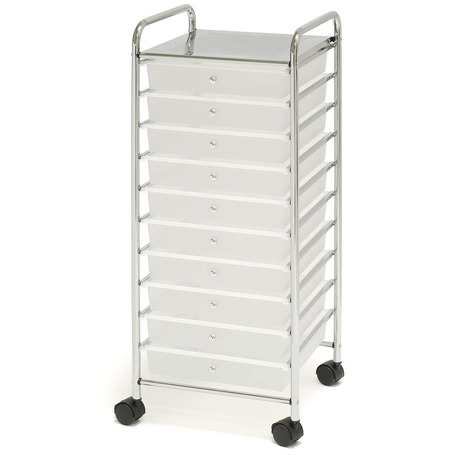 10-Drawer Organizer Cart, White