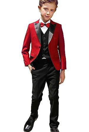 9a46952c32fa7 Costume de Mariage Cérémonie pour Enfant Garçon Rouge Noir 3 Pièces Veste  Gilet Pantelons 2-16 ans  Amazon.fr  Vêtements et accessoires