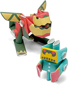PIPEROID Paper Pipe Robot Ron & Little-G Dragon & Little Goriborg - Japanese Paper Craft Building Models from Paper Sticks - Perfect for Art & Origami Fans and Birthday Party Favors