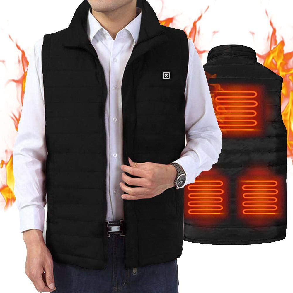 Womdee Electric Heated Vest, [EU Standard] Large Heating Jacket Clothes for Women Men USB Charging Vest Adjustable Temp Washable Heating Clothing Body Warmer Gilet for Outdoor Skiing, Hiking, Camping