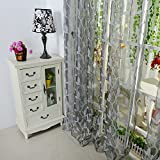 Forart Leaf Leave Window Curtain Drape Panel Scarf Valances for Living Room Bed RoomGrey
