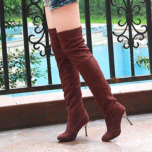 vent Bottes Orteil Sur Par Le Montées Hauts Point Les Simples Femmes Brun D'automne Genou on Le Talons Slip À Mince Chaussures Le Rv5WqFFwP