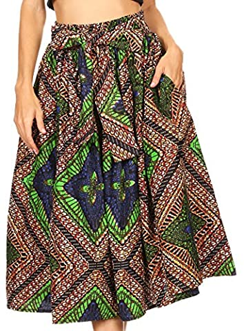 Sakkas 16321 - Celine African Dutch Ankara Wax Print Full Circle Skirt - 2281-Brown / Blue - OS - Circle Print Tie