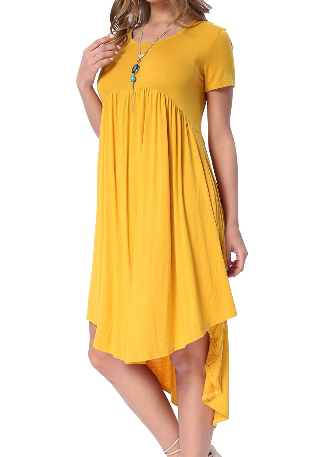 levaca Womens Scoop Neck Pockets High Low Pleated Loose Swing Casual Midi Dress