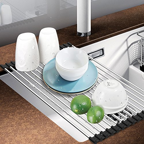 Dish Rack, Aiduy Roll Up Dish Drying Rack Dish Drainer Over the Sink Drying Rack Folding Sink Rack for Kitchen - Premium Stainless Steel ()