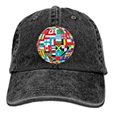 Globe With Different Countries Flags Vintage Jeans Baseball Cap Trucker Hat For Men And Women