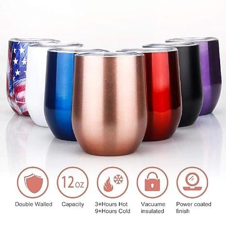 Amazon.com: Vaso de vino de acero inoxidable con tapa ...