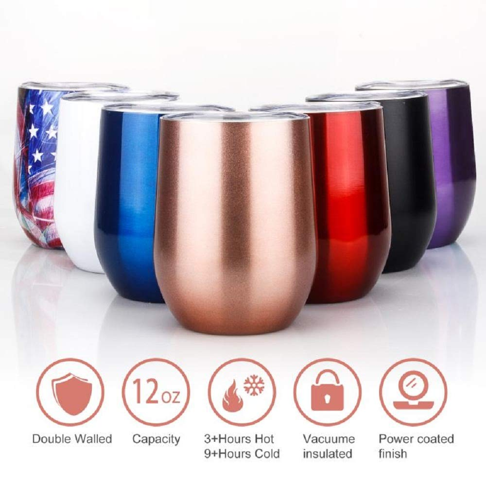 Stainless Steel Stemless Wine Tumbler Double Wall Vacuum Insulated Tumbler Mug with Free Lid for Coffee & Wine & Cocktails & Ice Cream & Champagne | Unbreakable,Powder Coated,BPA Free (Red Wine)