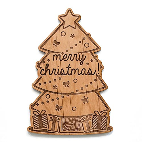 merry christmas tree shape laser cut wood christmas card greeting card unique gift - Laser Cut Christmas Cards