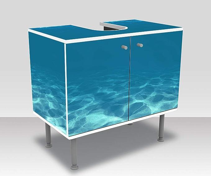 wandmotiv24 Mueble de baño Azul Claro bajo el Agua Pegado Completo Lavabo, Mueble Lavabo M1053: Amazon.es: Hogar