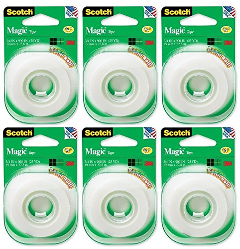 Scotch 3M 205 Magic Tape Refill, 3/4 x 500 Inches (Pack of 6)