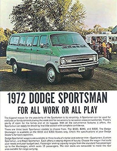 Amazon com: 1972 Dodge Sportsman Van Brochure: Entertainment
