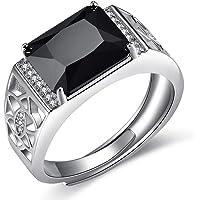 3bfede07a174 JiangXin Anillos ajustable Hombre Plata de ley 925 Zirconia Cubica negra  Lujoso Sólido San valentin Amor