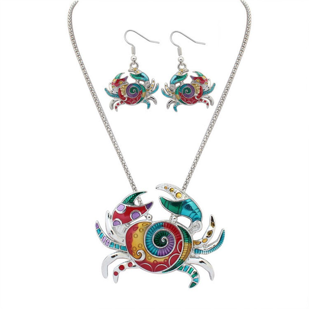 YJEdward Fashion Wedding Jewelry Set Crab Necklace Earrings 18K Gold Plated Gift For Her 2 Pcs