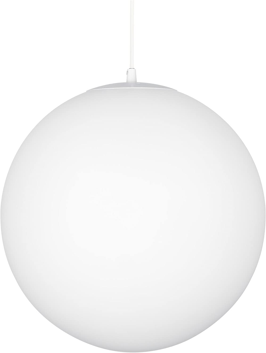 Kira Home Ceres 14 Mid-Century Modern Hanging Orb Pendant Light with Smooth Matte White Frosted Diffuser, White Finish