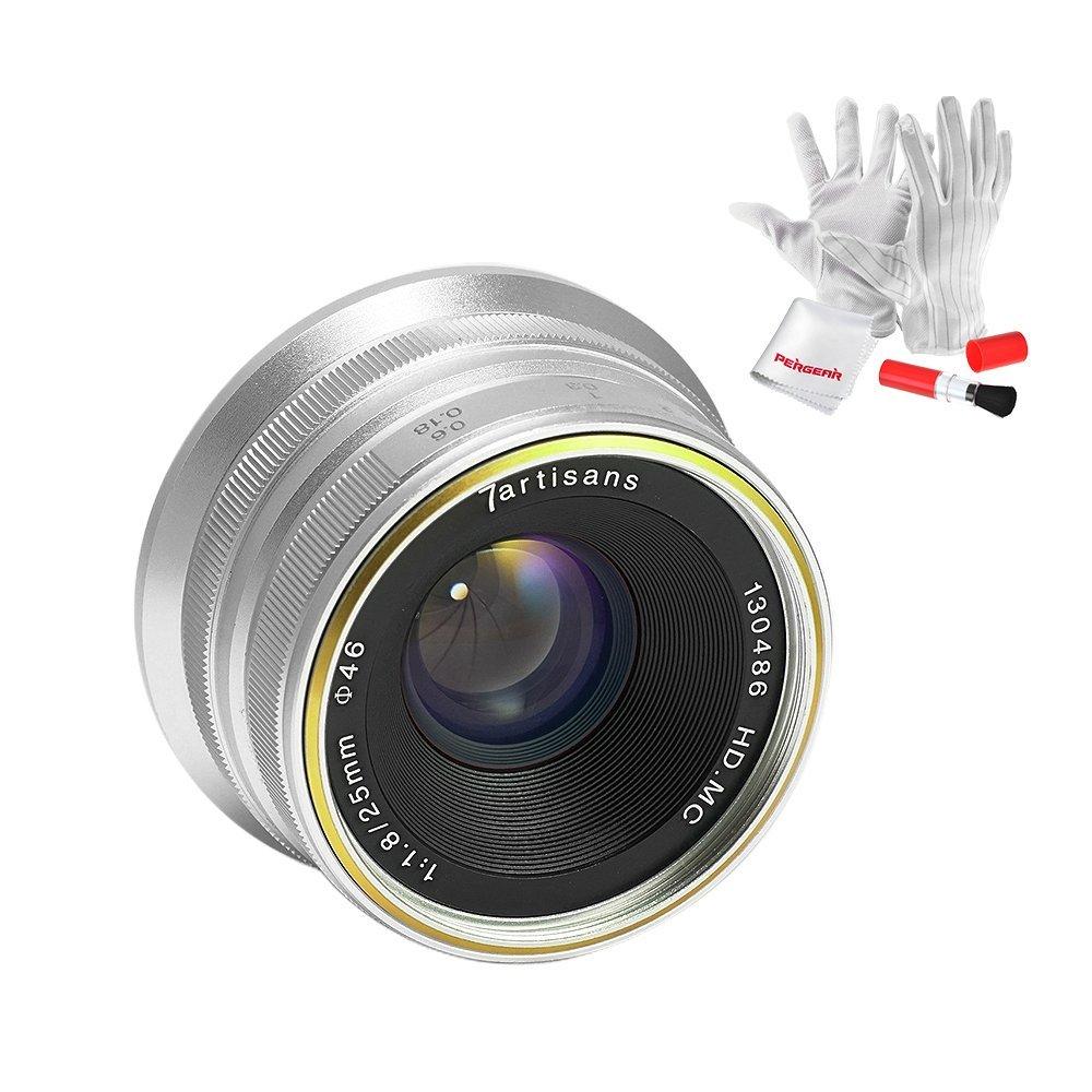 7artisans 25mm F1.8 Manual Focus Prime Fixed Lens for Sony Emount Cameras Like A7 A7II A7R A7RII A7S A7SII A6500 A6300 A6000 A5100 A5000 EX-3 NEX-3N NEX-3R NEX-C3 NEX-F3K NEX-5 NEX-5N - Silver