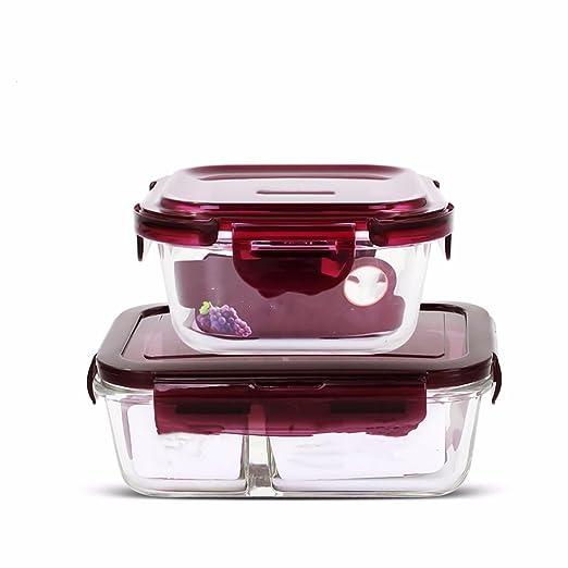 Caja de vidrio resistente al calor del horno de microondas de tapa ...