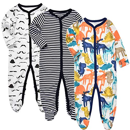 Exemaba Baby Boys' Footed Sleeper Pajamas - Infant Long Sleeve Warm One Piece Footies Pjs Onesies Sleep and Play 0-3 Months
