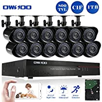 OWSOO 16CH CIF Video Security System HDMI P2P Cloud Network DVR with 1TB Hard Drive & 12Pcs Indoor/Outdoor Infrared Cameras, IR-CUT Night Version Motion Detection Email Alarm Support
