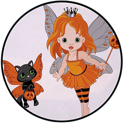 Printing Round Rug,Halloween,Halloween Baby Fairy and Her Cat