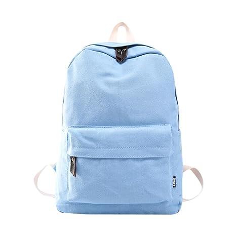 Mochila, Manadlian Bolso de mujer Mochila de viaje escolar Bolsos de hombro de lona para niñas (30cm(L)*40(H)*15cm(W), Azul)