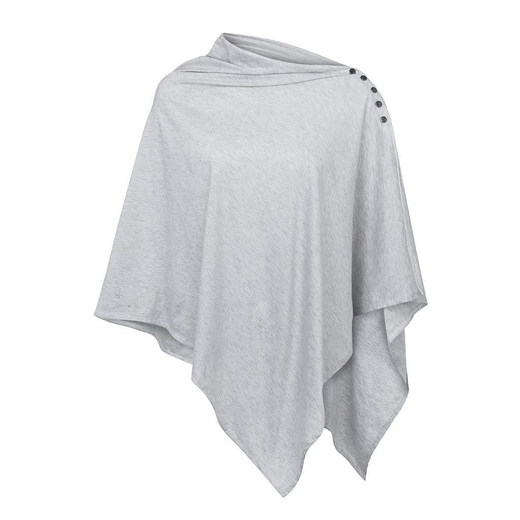 Maternity Nursing Tunic Tops Women Casual Solid Long Sleeve Pregnancy Breastfeeding Tee Shawl (XL, Gray)