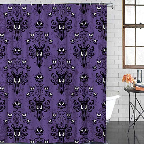 Retro Halloween Fabric (FAMILYDECOR Bathroom Shower Curtain - Halloween Decor Ghost Face Purple Pattern Shower Curtains Polyester Fabric Bath Curtain Waterproof Bathroom Curtain with Hooks, 72 X 72)