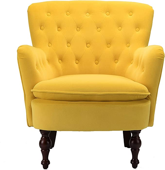 Amazon Com Mustard Velvet Tufted Accent Chair Isabella Small Arm Chair For Lving Room Bedroom Yellow Kitchen Dining