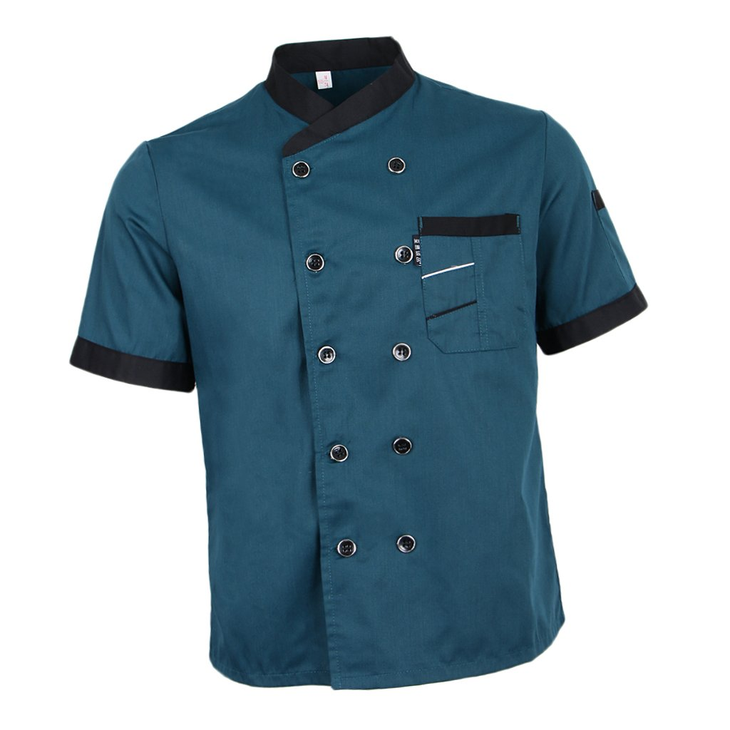 Fityle Chef Jacket Uniform Short Sleeve Hotel Kitchen Apparel Cook Coat 5 Colors - Blue, XL