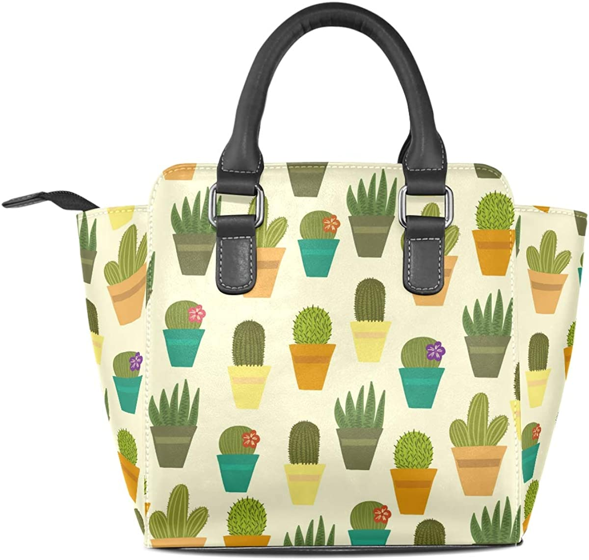 Green Smile Cactus Leather Handbags Purses Shoulder Tote Satchel Bags Womens