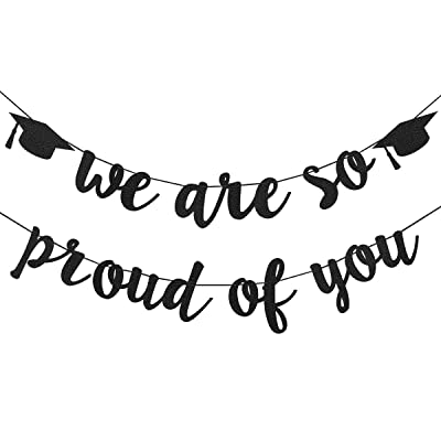 2020 Graduation Party Decorations- Black Glittery We are So Proud of You Graduation Banner,Graduation Party Decorations,Congratulations Grad Party Decorations: Toys & Games