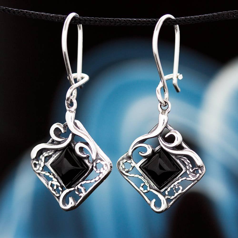 Onyx Silber 925 Ohrringe Damen Schmuck Sterlingsilber H0208