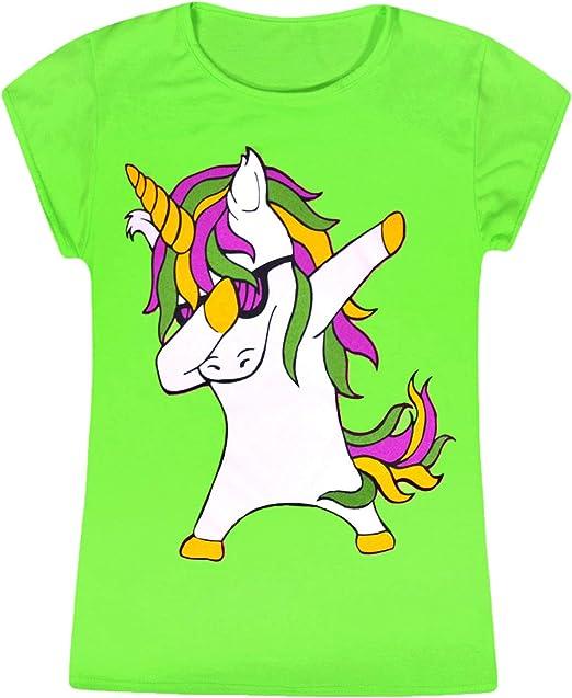 Girls Dabbing Unicorn Tops Kids Long Sleeve Tee T Shirt Sweatshirt Jumper Neon Swing Dress Dab Dance Fashion Clothing Fashion Clothing Ages 2-13 Years