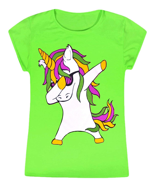 JollyRascals Girls Unicorn Top Kids New Dabbing Unicorn Short Sleeve T-Shirt Neon Colors Summer Dance Party Tee Top Black White Ages 4 5 6 7 8 9 10 11 12 13 Years