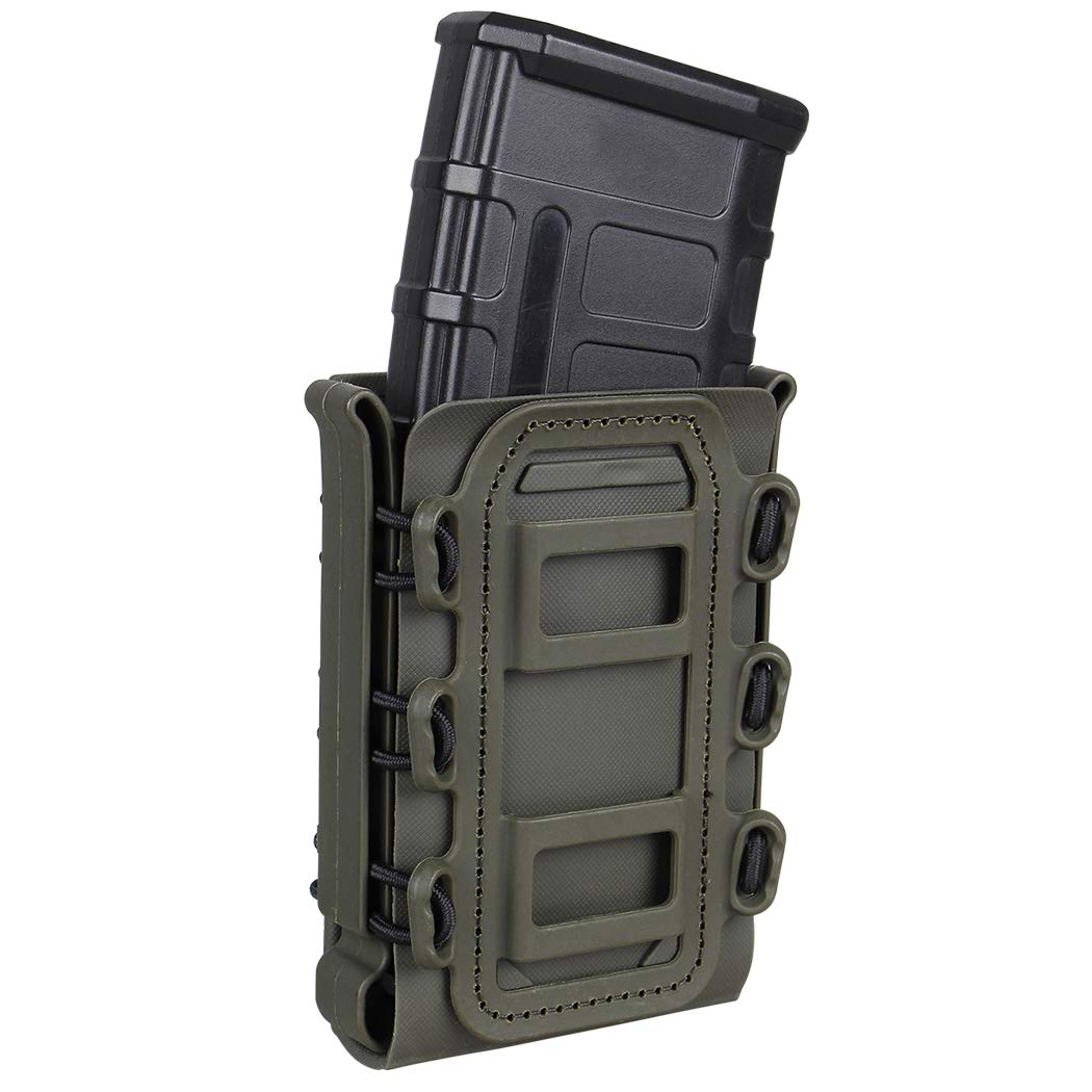 IDOGEAR 5.56mm 7.62mm Tactical Magazine Pouch Airsoft Hunting Shooting Molle Fastmag Soft Shell Mag Carrier Bag (Ranger Green)