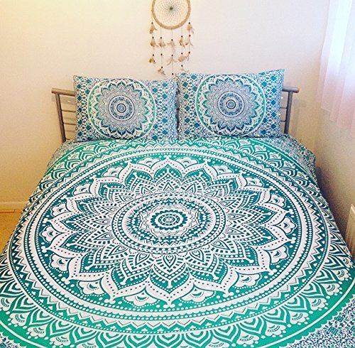 3 pieces set Hippie Mandala Tapestry Bedding with Pillow Covers, Bohemian Wall Hanging Hippy Blanket Picnic Beach Throw Indian Ombre Mandala Bedspread for Bedroom Decor Queen Size Tapestry