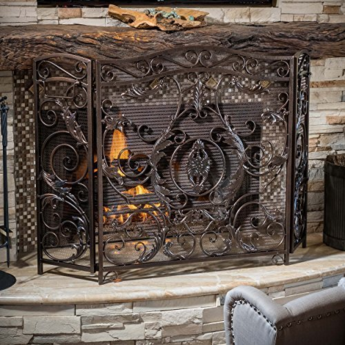 Great Deal Furniture 295448 Mariella Black Gold Finish Floral Iron Fireplace Screen,