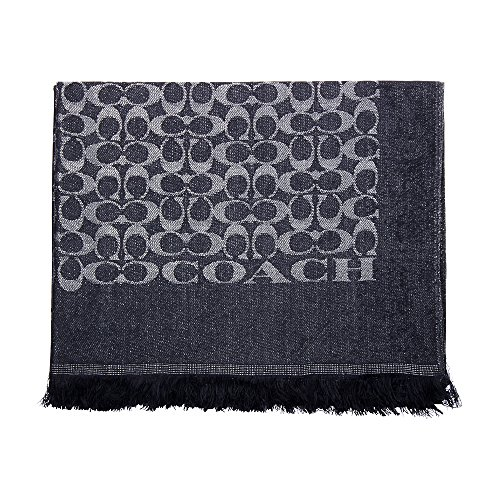 Coach Signature Mettalic Stole Navy Ladies Scarf 85980 by Coach