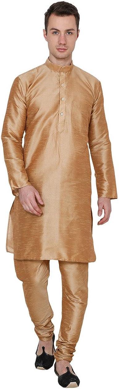 CRAFTSTRIBE Ropa Tradicional India para Hombre Kurta Pijama de algodón de Seda Vestido de Diwali: Amazon.es: Ropa y accesorios