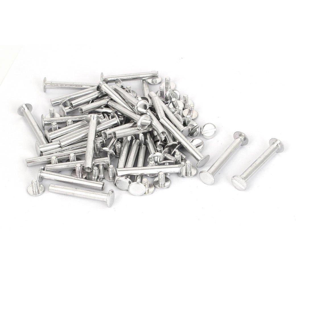 uxcell M5x38mm Aluminum Chicago Screws Binding Posts Silver Tone 50pcs