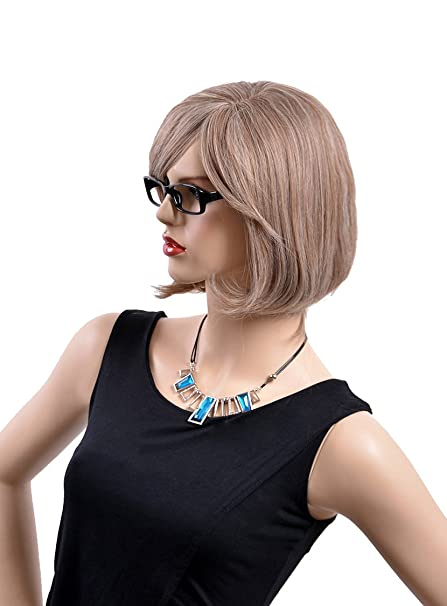 Amazon.com: Pelucas Cap Wigs Synthetic Short Blonde Middle Part Bangs Afro Kinky Wavy Mocha Hair Wigs Harajuku Anime Cosplay Pelucas: Beauty