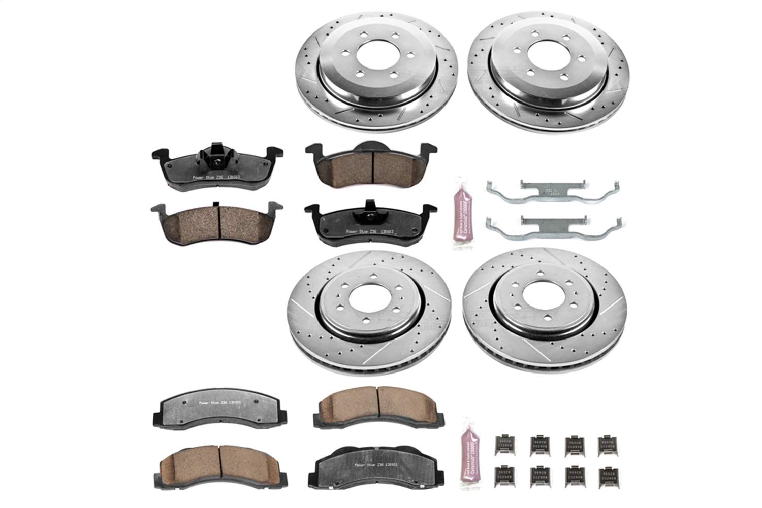 Power Stop K5577-36 Z36 Truck /& Tow Front and Rear Brake Kit