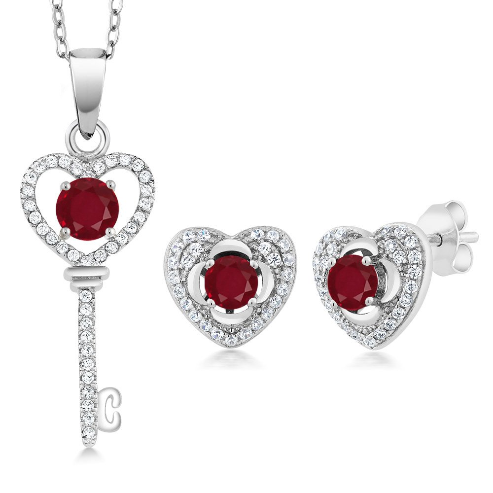 2.22 Ct Round Red Ruby 925 Sterling Silver Pendant Earrings Set