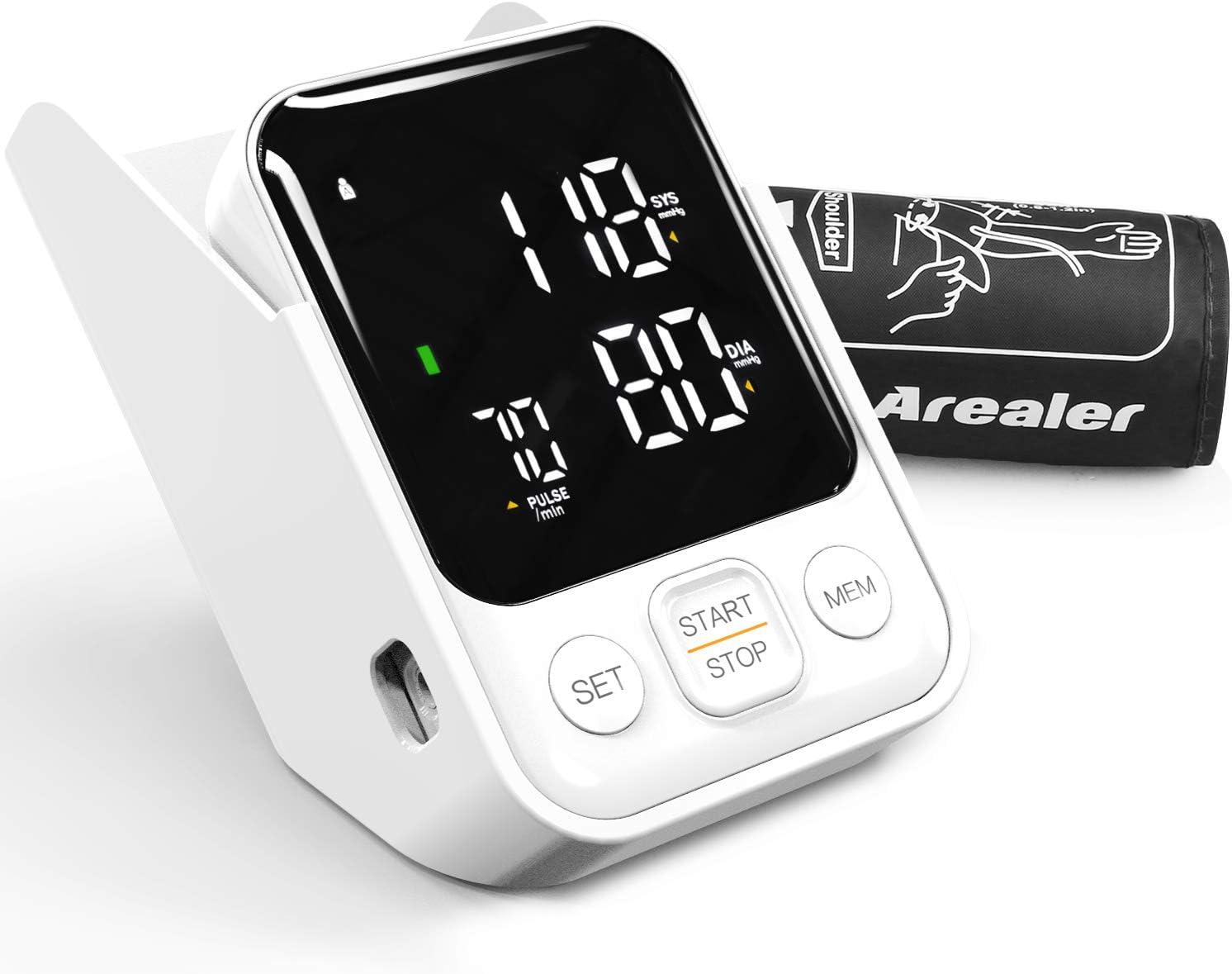 Tensiómetro de Brazo, Arealer Monitor de Presión Arterial Digital Automatico con Gran Pantalla, 2 Memorias 2 * 120, para Uso Doméstico